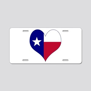 I Love Texas Flag Heart Aluminum License Plate